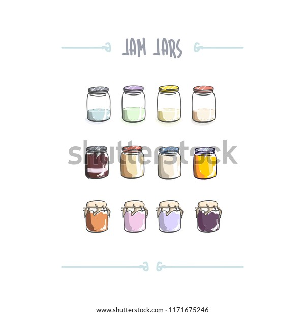 Cartoonish vector illustration of jam jars set on white background some with fabric cap and label