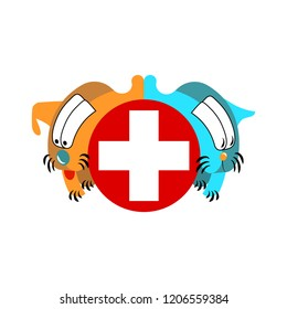 Cartoons dog and cat veterinary clinic icon flat style. Doctor nursing help. A red and blue with a circle pet.