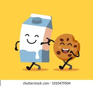 Cartoons of fun characters milk and cookies. Vector flat