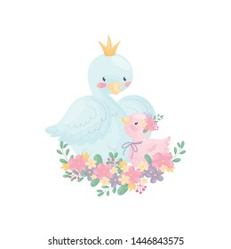 Cartoons goose and gosling sit on a flower arrangement. Vector illustration on white background.