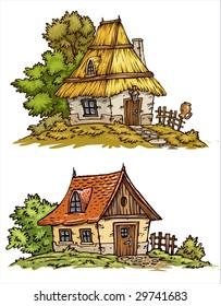 Cartoons Old Cottages