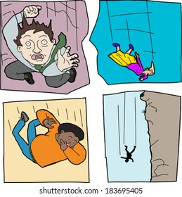 Cartoons of scared men and women falling down