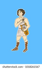 Cartoony cute character holding a lyre, looking like a greek male muse or a greek god Apollo, drawn in funny cute style. Young man wearing greek tunic, sandals and laurel crown. Vector illustration.