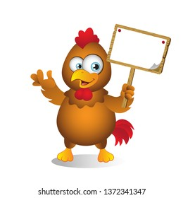 Cartooon Chicken with Blank Sign