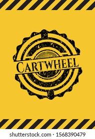 Cartwheel black grunge emblem with yellow background. Vector Illustration. Detailed.