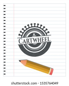 Cartwheel emblem draw with pencil effect. Vector Illustration. Detailed.