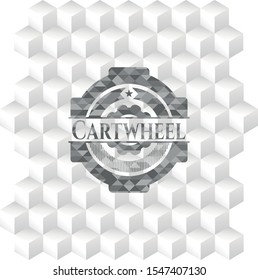 Cartwheel grey emblem. Retro with geometric cube white background
