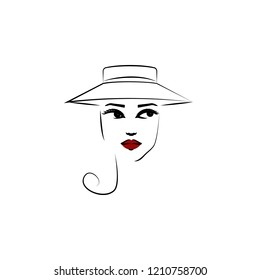Cartwheel hat, girl icon. Element of beautiful girl in a hat icon for mobile concept and web apps. Thin lin Cartwheel hat, girl icon can be used for web and mobile