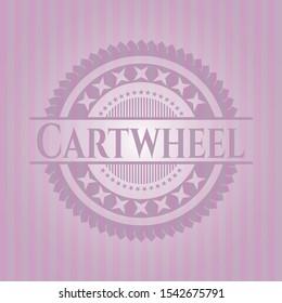 Cartwheel retro style pink emblem. Vector Illustration. Detailed.