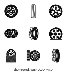 Cartwheel tire icons set. Simple set of 9 cartwheel tire vector icons for web isolated on white background