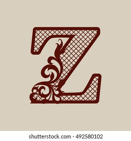 Carved flower pattern. Elegant monogram initial letter Z. The template can be used for printing or laser cutting greeting and wedding cards, invitations, interior design, etc