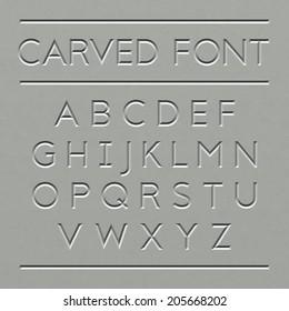 Carved font design. Vector.