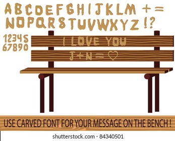 Carved on wood font vector