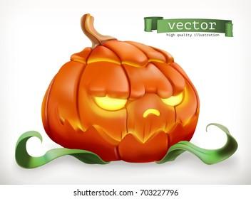 Carved pumpkin. Happy Halloween, 3d vector icon