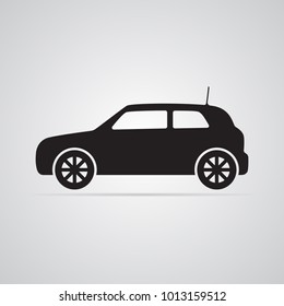 Carved silhouette flat icon, simple vector design. Car in profile for illustration of transport, car dealers and passenger transport. Symbol of body type hatchback