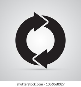 Carved silhouette flat icon, simple vector design. Circle with 2 arrows for illustration of time, round, dynamic and consistency. Symbol for store delivery.