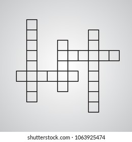 Carved silhouette flat icon, simple vector design. Empty crossword for illustration of challenge game, puzzle and rebus. Squared figure.