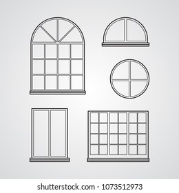 Carved silhouette flat icon, simple vector design. Set of classic glass windows for illustration of part of house, facade, decor.