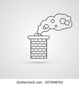 Carved silhouette flat icon, simple vector design. Brick chimney pipe with cloud of smoke for illustration of house's part, heating method, roof, factory and industry.
