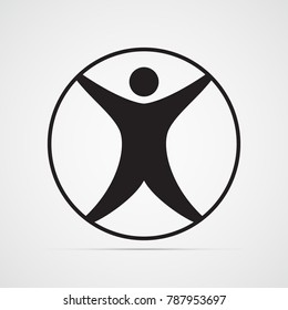 Carved silhouette flat icon, simple vector design. Modern vitruvian man. Sign of human figure enclosed in circle for illustration for medicine, science, health. Symbol of drawing of Leonardo da Vinci