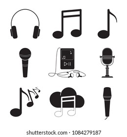 Carved silhouette icons, simple vector. Collection of basic symbols for web illustration of music. Audio walkman, notes, microphone, headphones.