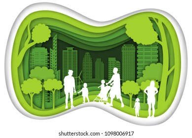 Carving design of city urban and family with green nature as happy, quality of life, ecology idea, Paper cut art and craft style concept. vector illustration.