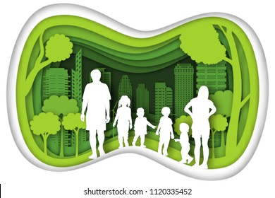 Carving design of city urban, father, mother, son and baby with green nature as happy family, quality of life, ecology idea, Paper cut art and craft style concept. vector illustration.