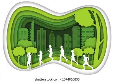 Carving design of city urban and peoples walking and running with green nature as exercise, healthy, quality of life, ecology idea, Paper cut art and craft style concept. vector illustration.