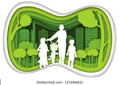 Carving design of city urban and peoples exercise by bicycle with green nature as healthy, quality of life, ecology idea, Paper cut art and craft style concept. vector illustration.