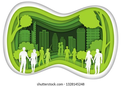 Carving design of city urban and peoples and lover in the green nature as healthy, quality of life, ecology idea, Paper cut art and craft style concept. vector illustration.