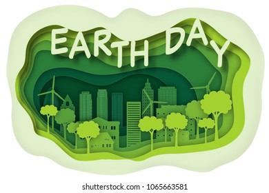 Carving design of park city on green town background as business, earth day, ecology idea, love world, Paper art and craft style concept. vector illustration