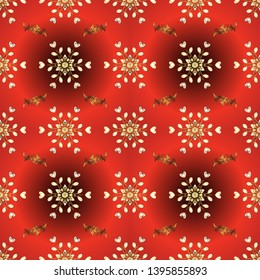 Carving. Platinum. Pattern on red colors with golden elements. Seamless element woodcarving. Luxury furniture. Small depth of field. Red and orange backdrop with gold trim. Furniture in classic style.