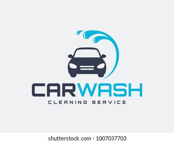Carwash logo isolated on white background. Vector emblem for car washing services.