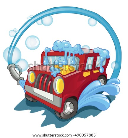 Carwash Red Car Wash Foam Water Stock Vector Royalty Free