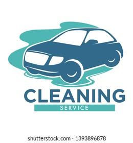 Carwash station isolated icon vehicle in water puddle vector car cleaning service washing dirty transport and corpus polishing transportation emblem or logo automobile maintenance and cleanliness