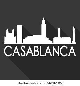 Casablanca Flat Icon Skyline Silhouette Design City Vector Art Famous Buildings