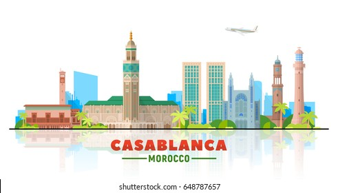 Casablanca, ( Morocco) city skyline vector illustration white background. Business travel and tourism concept with modern buildings. Image for presentation, banner, web site.