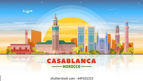 Casablanca, ( Morocco) city skyline vector illustration sky background. Business travel and tourism concept with modern buildings. Image for presentation, banner, web site.