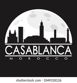 Casablanca Morocco Full Moon Night Skyline Silhouette Design City Vector Art