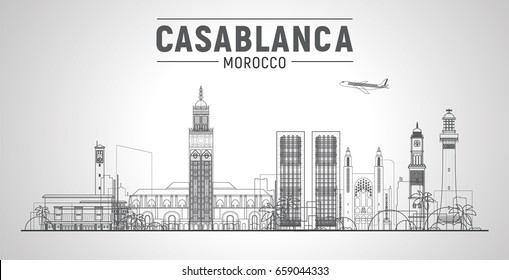 Casablanca, ( Morocco) line city skyline vector illustration sky background. Business travel and tourism concept with modern buildings. Image for presentation, banner, web site.