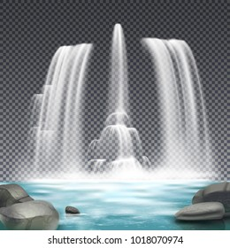Cascade fountain waterworks realistic architectural element design with stones and waterfall on dark transparent background vector illustration