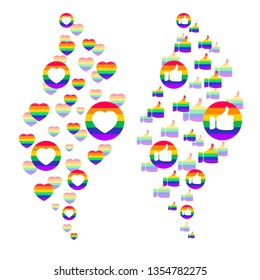 Cascade of Likes and Thumbs Up. LGBTQ+ related symbol in rainbow colors. Gay Pride.  Raibow Community Pride Month. Love, Freedom, Support, Peace Symbol. Flat Vector Design Isolated on White Background