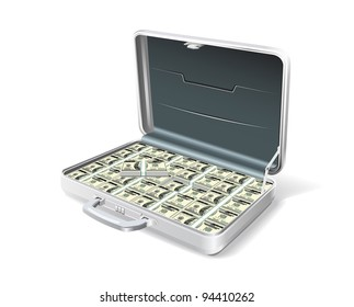 Case businessman with money bills is shown in the picture.