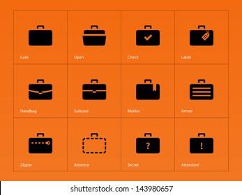 Case icons variants of briefcase on orange background. Vector illustration.