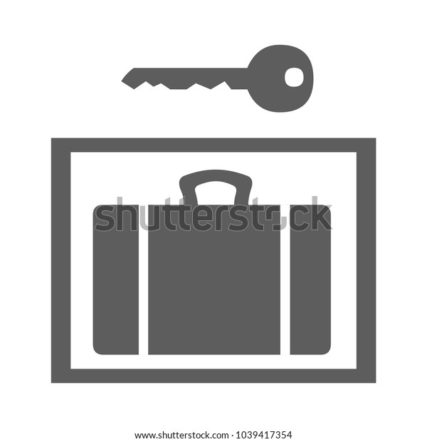 Case and key icon isolated on background. Modern flat pictogram, business, marketing, internet concept. Trendy Simple vector symbol for web site design or button to mobile app. Logo illustration