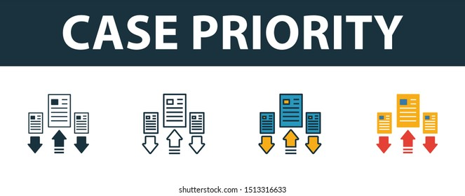 Case Priority icon set. Premium simple element in different styles from customer service icons collection. Set of case priority icon in filled, outline, colored and flat symbols concept.