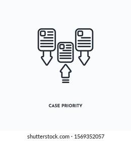 Case Priority outline icon. Simple linear element illustration. Isolated line Case Priority icon on white background. Thin stroke sign can be used for web, mobile and UI.