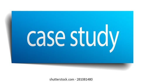 case study blue square isolated paper sign on white