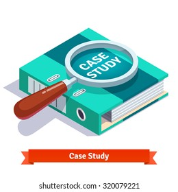 Case study concept. Magnifying glass lying on big loose leaf document file binder. Flat style vector illustration isolated on white background.