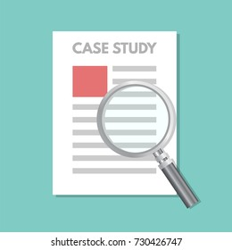 Case study concept with magnifying glass. Vector illustration.